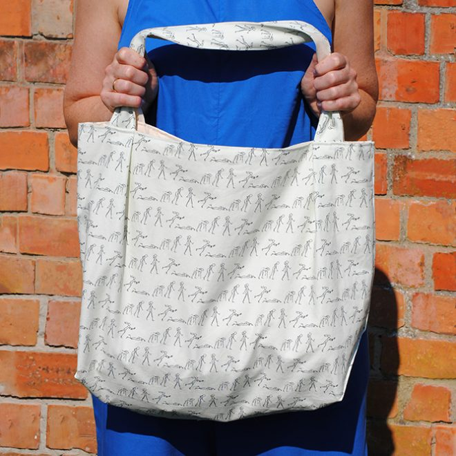 grote shopper met unieke print 'all over again' in biokatoen