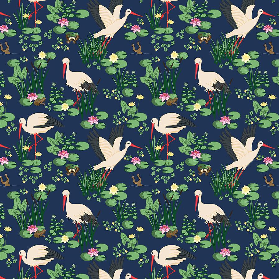 Patroon met ooievaars kikkers en waterlelies op donkerblauwe achtergrond