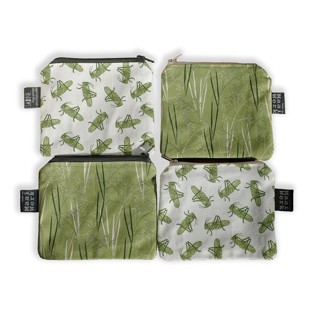 Portemonnee met zomerse print biokatoen zomergras en krekels