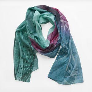 sjaal zacht als zijde in pasteltinten groen en roze